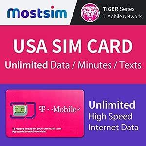 Most SIM T-Mobile EE.UU. Tarjeta SIM 21 Días, Datos a Alta Velocidad/Llamadas/Mensajes de Texto Ilimitados, Tarjeta SIM T-Mobile EE.UU. Estados Unidos