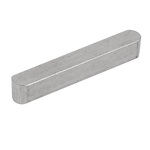 sourcing map 60mmx5mmx5mm acier carbone cl/é droite Stock clavette barre 14pcs gris