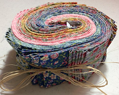 "GRANDMA'S CALICO JELLY ROLL FOR QUILTING, 42 2.5"" STRIPS, AND BONUS RETRACTABLE TAPE MEASURE created and designed exclusively for Ozark Mountain Quilter by Jelly Rolls for Quilting"