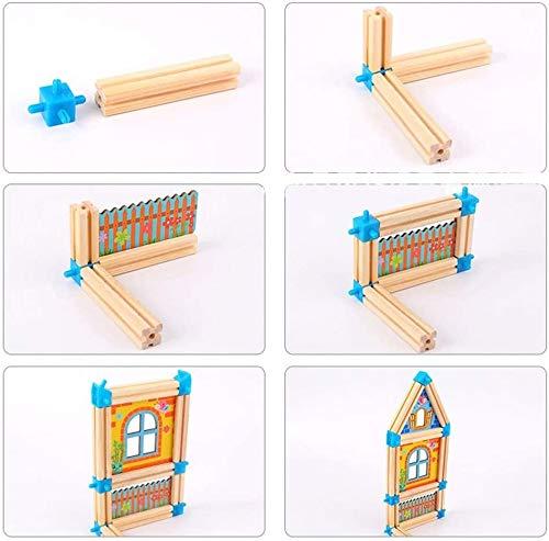 128 Stücke aus Holz Puppenhaus Kit Familie Bau Spielset Geschenk for Kinder Puzzle for Erwachsene dreirad ab 1 jahr mit schubstange cfbcc