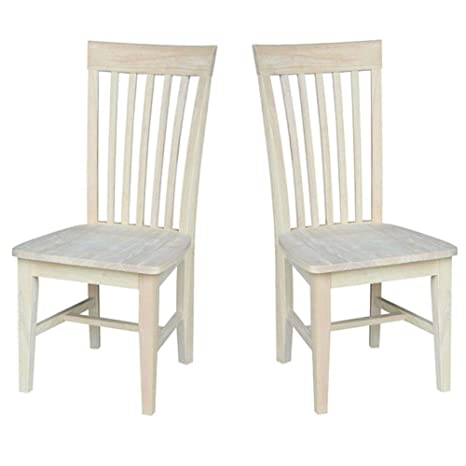 Amazon.com: Juego de 2 sillas de comedor de madera estilo ...