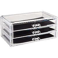 Sodynee Makeup Organizer Cosmetic Organizer Jewelry and Cosmetic Storage Display Box,3 Drawers