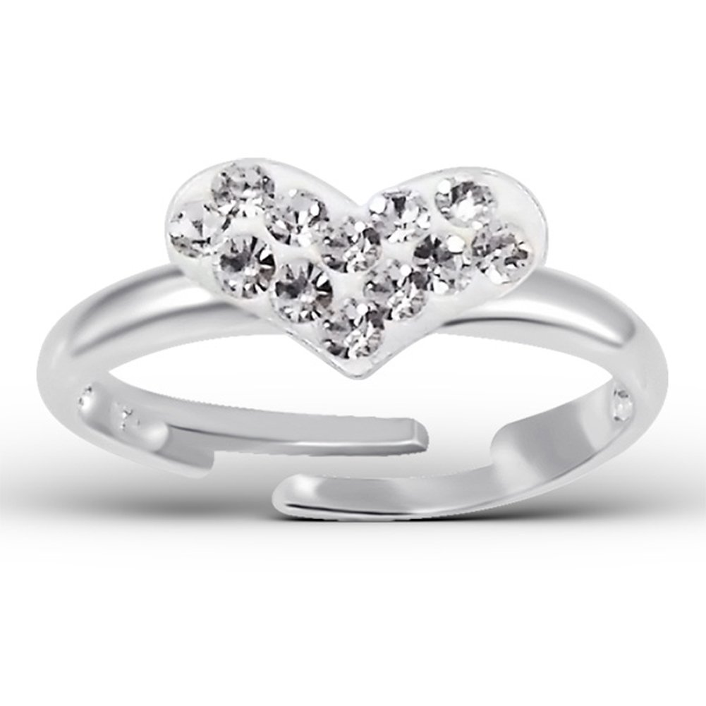 Children Ring, Heart Ring with White Clear Crystal Stones, Size Adjustable, Sterling Silver 925 (E15407)