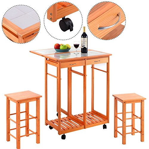 Rolling Kitchen Island Trolley Cart Drop Leaf Table w/ 2 Stools Home Breakfast (Island Breakfast Chairs)