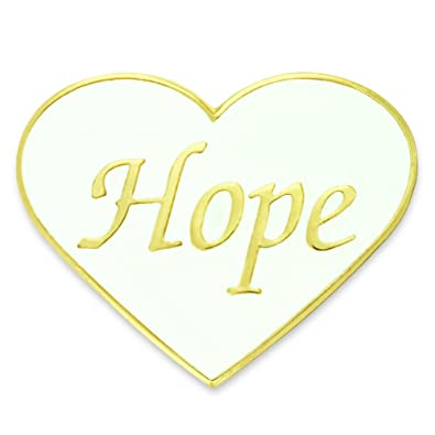 1c30330c1a7 Amazon.com: PinMart Hope White and Gold Heart Enamel Lapel Pin: Brooches  And Pins: Jewelry