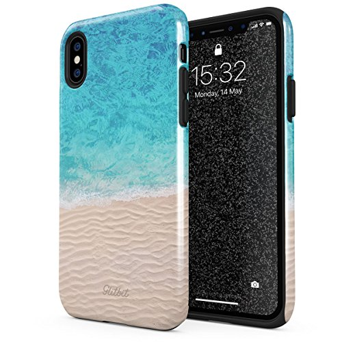 Glitbit Compatible with iPhone Xs Max Case Summer Beach Sand Sea Waves Case Tropical Good Vibes Sun Heavy Duty Shockproof Dual Layer Hard Shell + Silicone Protective Cover ()