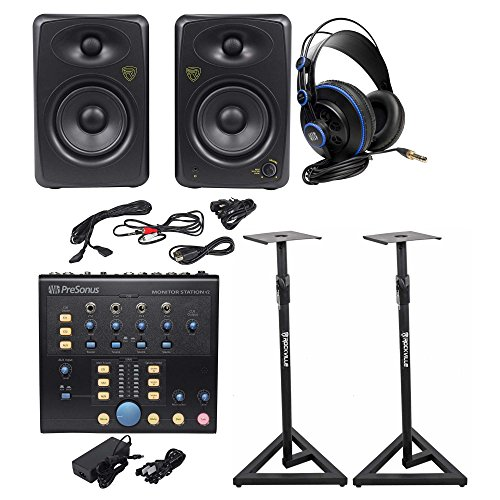 Center Monitor Studio Control - Presonus Monitor Station V2 Control Center+(2) Studio Monitors+Stands+Headphones