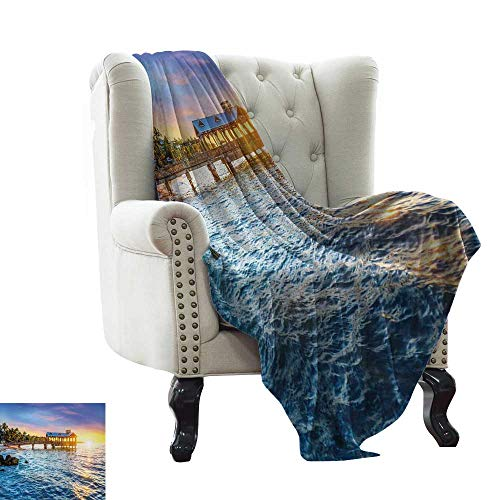 Davishouse Living Room/Bedroom Warm Blanket Pier at Beach in Key West Florida USA Tropical Summer Paradise All Season for Couch or Bed 60
