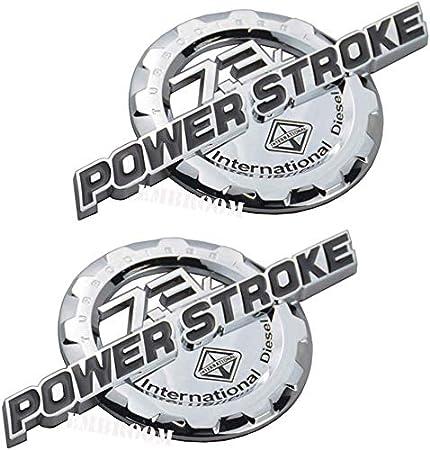 Chrome Black EmbRoom Pair Set 7.3L Power Stroke Turbo Diesel Emblems 3D Badge Sticker Compatible for 7.3 Power Stroke