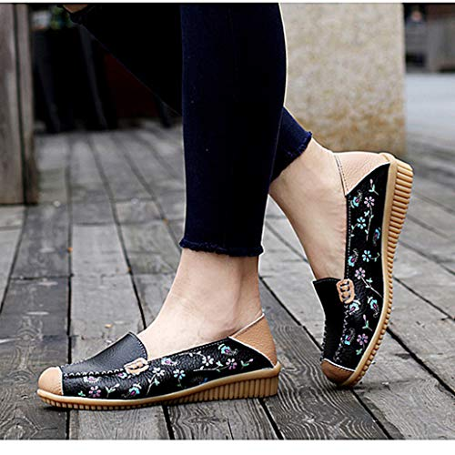 York Zhu Women Loafer Shoes Leather Cut Out Slip on Flats Handmade Shoesv by York Zhu (Image #2)
