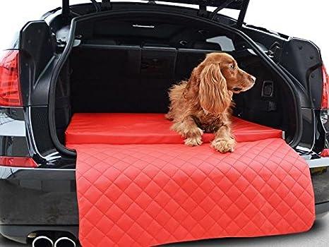 Auto hundematte - para maletero - Techo - Auto de cama para perros en rojo piel sintética: Amazon.es: Productos para mascotas