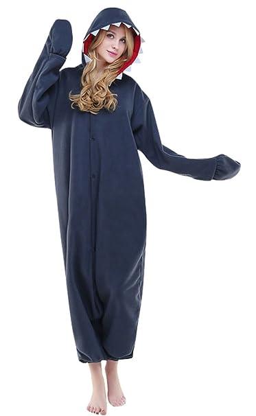 Pijamas de traje de cosplay de animal adulto,tiburón,S