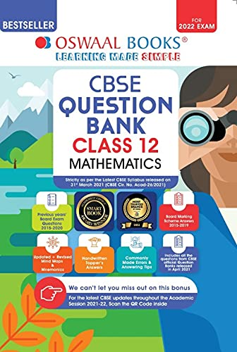 Oswaal CBSE Question Bank Class 12 Mathematics Book Chapterwise & Topicwise Includes Objective Types & MCQ's (For 2022 Exam) Paperback – 8 May 2021