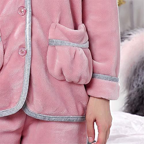 Manga Lindo Engrosamiento Cómodo Pijamas Larga Otoño De Domicilio A Y Terciopelo Sets Invierno 2 Pantalones Mujer Para Coral L Servicio Franela Baijuxing Suave E FSOq4Enwxw