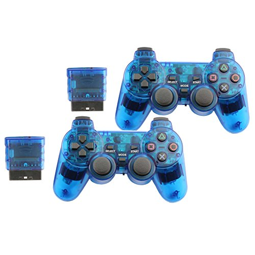 Controller for PS2 Playstation 2 Wireless (Blue) - 2 Pack ()
