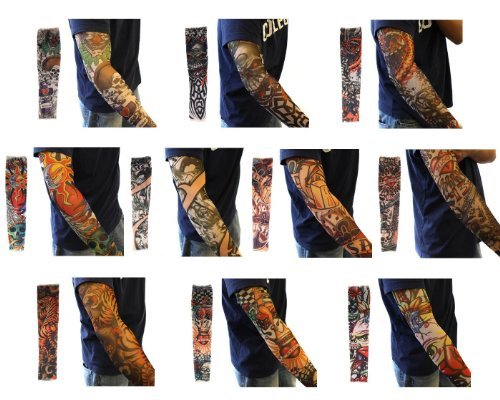 Efivs Arts Temporary Fake Tattoo Arm Sleeves Slip on Artwork Costume Stretch Nylon Men Women New Pair - 10 Pcs