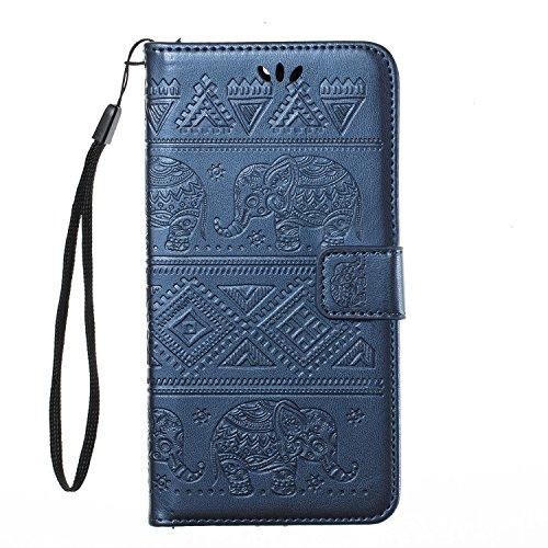 Funda Moto G5s Plus, Carcasa Moto G6 Plus, CaseLover Piel Libro Cuero Elefante Impresión Carcasa para Motorola Moto G5s Plus / G6 Plus con TPU Silicona Case Cover Interna Suave Flip Folio Tapa y Carte Azul Oscuro