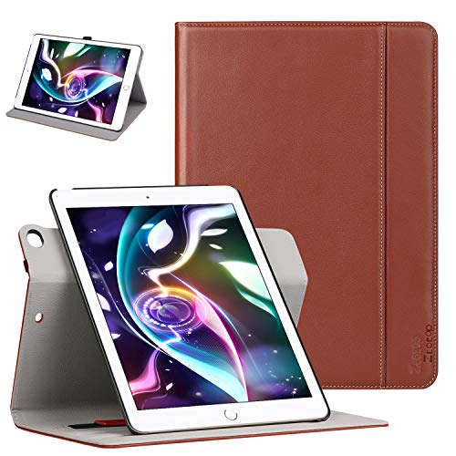 (Ztotop Case for iPad 9.7 inch 2017/2018,[360 Degree Rotating/Genuine Leather] with Auto Wake/Sleep, Pencil Holder, Hand Strap for New iPad Education, iPad 9.7 2017, iPad Air 2, Brown)