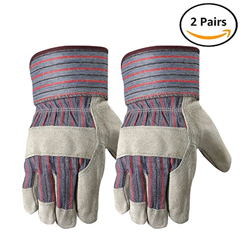 Wells Lamont Leather Work Gloves with Safety Cuff, Suede Palm, 2 Pair Pack, One Size (4006N-WNW) (Leather Chore Glove)