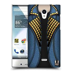 Head Case Designs Azul Y Oro Tachón De Mezclillas Caso Duro Trasero para Sharp Aquos Crystal 305SH
