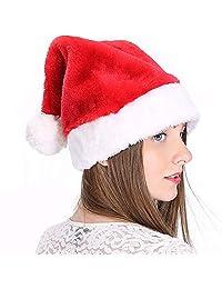 LONGTEN Unisex-Adult's Santa Hat, Velvet Christmas Hat with Plush Trim &and Comfort Liner