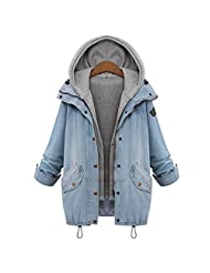 Coway Womens Drawstring Hooded Vest Trends Jeans Denim Jacket Two Piece Coats