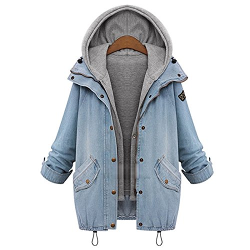 Varsity Denim Jacket - Coway Womens Drawstring Hooded Vest Trends Jeans Denim Jacket Two Piece Coats Size L