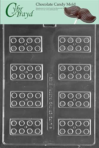 Cybrtrayd K162 Building Blocks Chocolate Candy Mold with Exclusive Cybrtrayd Copyrighted Chocolate Molding Instructions