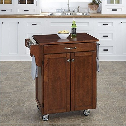 Home Styles Cuisine Cart, Cherry Finish with Cherry Top
