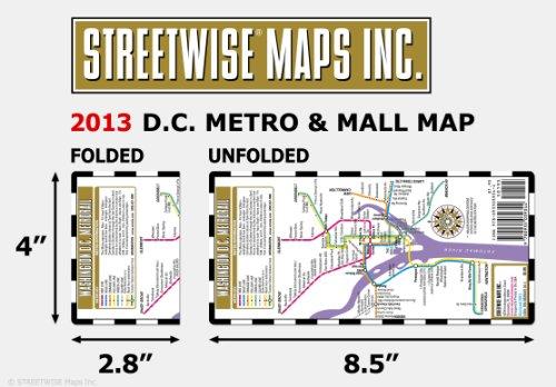 Streetwise Washington DC Metro Map - Laminated Washington DC Metrorail Map - Folding pocket & wallet size metro map for travel