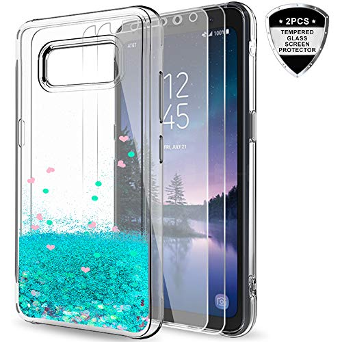 Galaxy S8 Active Case (Do Not Fit S8) with 2pcs Tempered Glass Screen Protector for Girls Women,LeYi Glitter Shiny Bling Quicksand Liquid Protective Phone Case for Samsung S8 Active ZX Turquoise