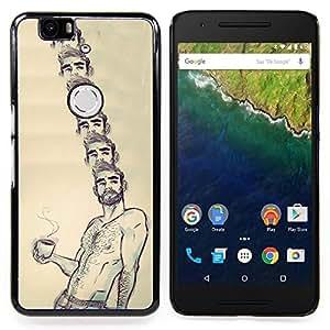- Portrait Coffee Shirtless Man Beard Hot/ Duro Snap en el tel????fono celular de la cubierta - Cao - For Huawei Nexus 6P