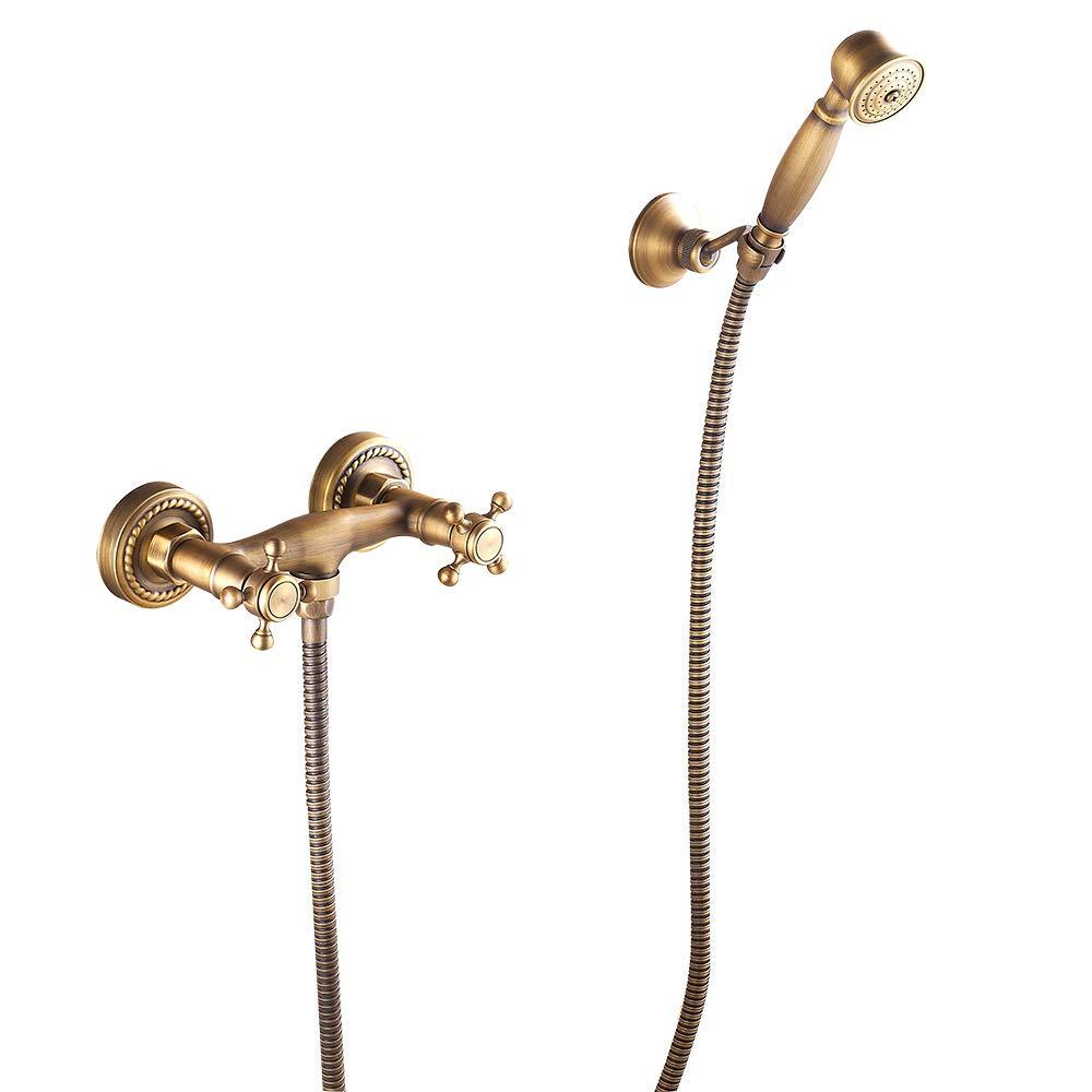 Jackeylove Duschsystem, Handdusche Antike Dusche Kupfer Tub Auslauf Faucet, Chrome Finish