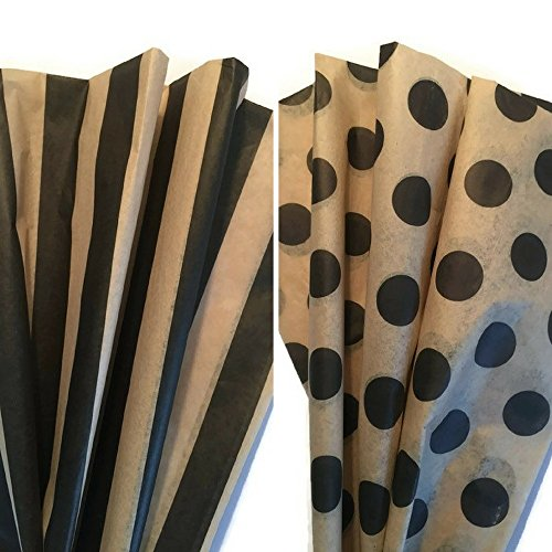 Printed Tissue Paper for Gift Wrapping with Design (Black & Tan Polka Dot / Black & Tan Stripe), Decorative Gift Tissue Paper , 24 Large Sheets (20x30) by Rustic Pearl Collection