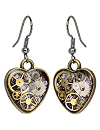 Body Candy Handcrafted Steal My Heart Steampunk Intricate Inlay Watch Gear Heart Fishhook Earrings