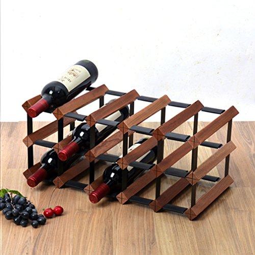 Yxsd 12 15 18 Botella de Vino Estante de pie Libre de Madera gabinete Robusto Titular de la Botella de Estilo Vintage,...
