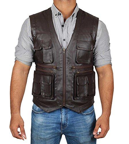 Decrum Jurass World Brown Leather Vest for Men | XL ()