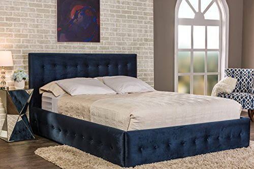 Baxton Studio Morgan Velvet Button-Tufted Platform Bed, Queen, Navy Blue