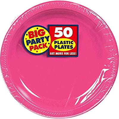 Bright Pink Plastic Luncheon Plates Big Party Pack, 50 Ct.: Kitchen & Dining
