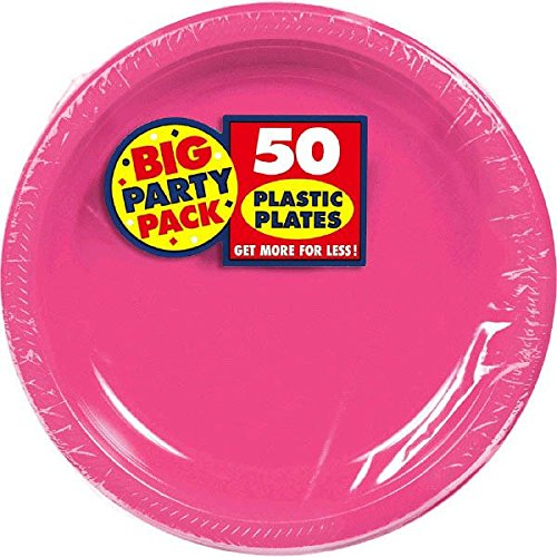 Amscan Big Party Pack 50 Count Plastic Lunch Plates, 10.5-Inch,