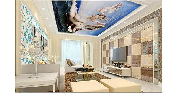 Huytong 3D Papel Pintado Sala De Estar Dormitorio Pegatinas De Pared Mural Ángeles Marinos Y Techo De Belleza 350Cmx300Cm|137.79(In) X118.11(In): Amazon.es: ...