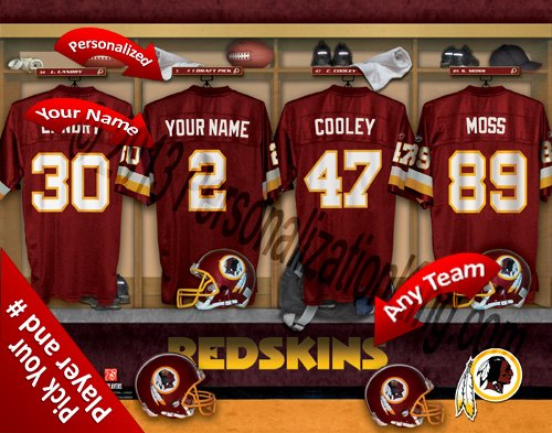 Washington Redskins Team Locker Room Clubhouse Personlized Officially Licensed NFL Photo Print (Redskins Locker Washington Nfl Room)
