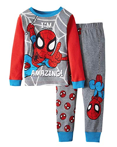 AME Marvel Spiderman I'm Amazing Toddler Boy Cotton Tight Fit Pajamas,Gray,3T