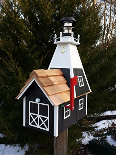 - Amish Homemade Solar Nautical Lighthouse Rural Mailbox Black with White Trim