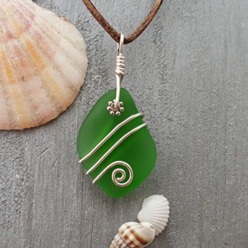 Handmade in Hawaii, leather cord Emerald sea glass necklace,