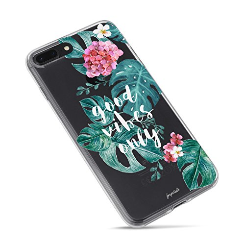 (iPhone 8 Plus Case,iPhone 7 Plus Case,Florals Flowers Vintage Roses Girls Good Vibes Only Aloha Love Summer Tropical Palm Tree Bahama Leaves Beach Clear Rubber Case for iPhone 7 Plus/iPhone)