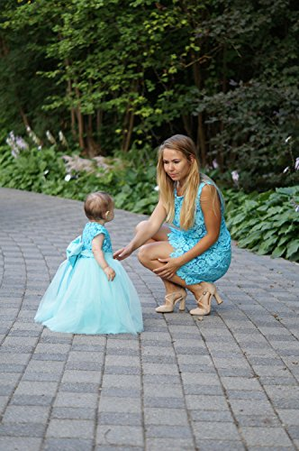 9c7ac25d06 Teal Mother daughter matching tutu lace dress, Mini dresses for Mom and baby,  girls