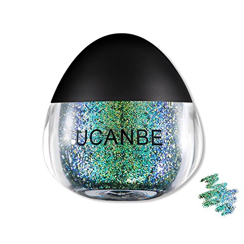 UCANBE Glitter Snot for Body Face Paint, Sparkling Shimmer Eye shadow Makeup, Hair 0.63 fl. Oz (Blue-green)