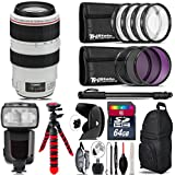 Canon EF 70-300mm IS USM Lens + Pro Flash + UV-CPL-FLD Filters + Macro Filter Kit + 72 Monopod + Lens Hood + 64GB Class 10 + Backpack + Spider Tripod + Wrist Strap - International Version