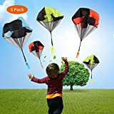 Phetron 5 Packs Throwing Parachute Toy, Throwing Toy Skydiver Parachute Tangle Free with Men, Play Outdoor Games Toy for Kids (Color Random)